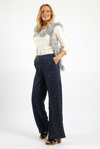 Erso Printed Tencel Trouser Navy