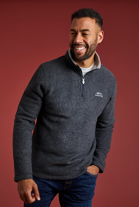 Newark 1/4 Zip Grid Fleece Washed Black