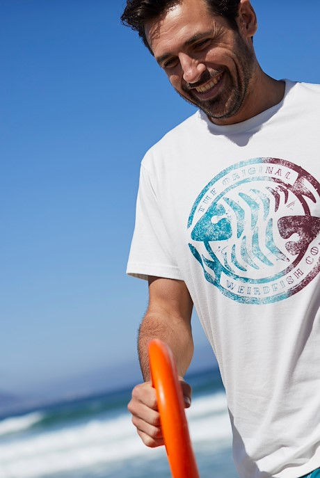 Summer Surf Branded Print T-Shirt Dusty White Marl