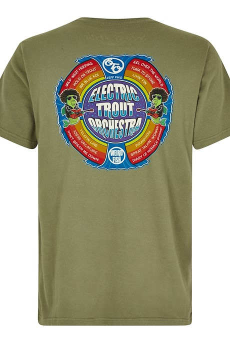 Electric Trout Artist T-Shirt Khaki Green