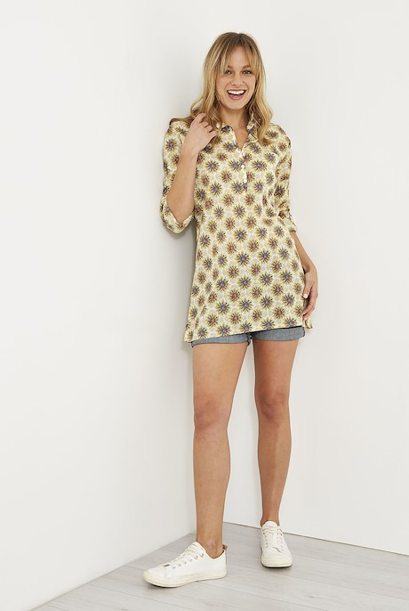 Georgina Printed Cotton Shirt Light Cream