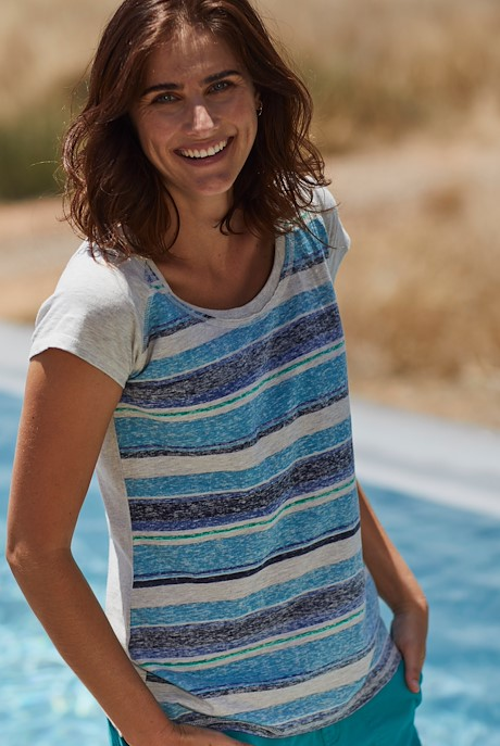 Rosanna Printed Striped T-Shirt Ultramarine
