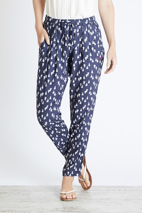 Tinto Printed Harem Trousers Dark Navy