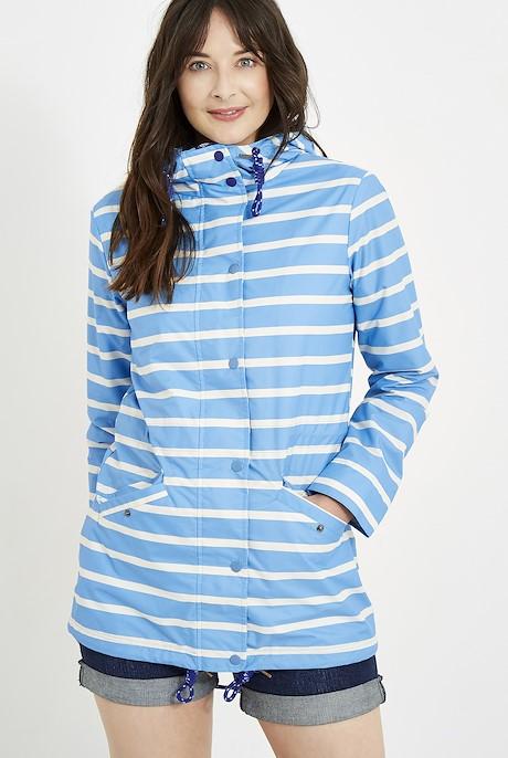 Antonia Striped Showerproof Jacket Cool Blue