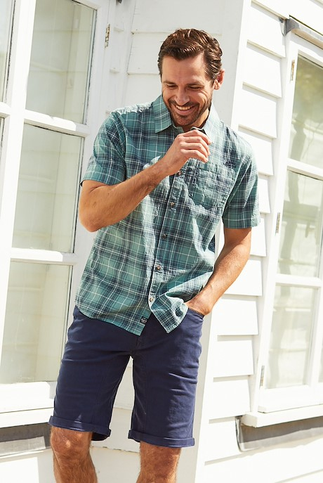 Charter Short Sleeve Check Shirt Mineral Blue