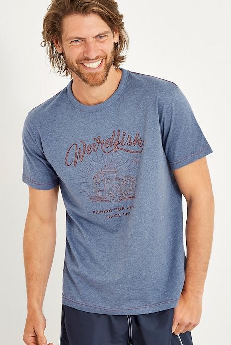 Surf School Branded Print T-Shirt Blue Indigo Marl