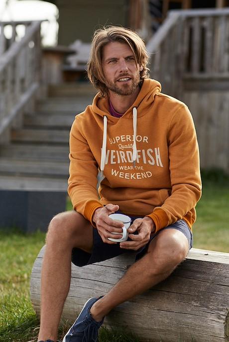 Kylian Graphic Print Hooded Sweatshirt Saffron Marl