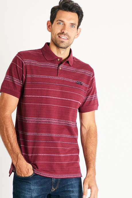 Draycott Stripe Jacquard Polo Shirt Pinot Wine