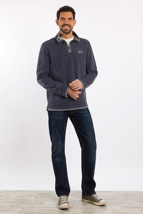 Kendall 1/4 Zip Pique Sweatshirt Navy