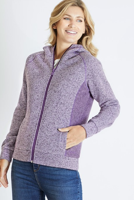 Dania Soft Knit Hooded Jacket Purple Magic
