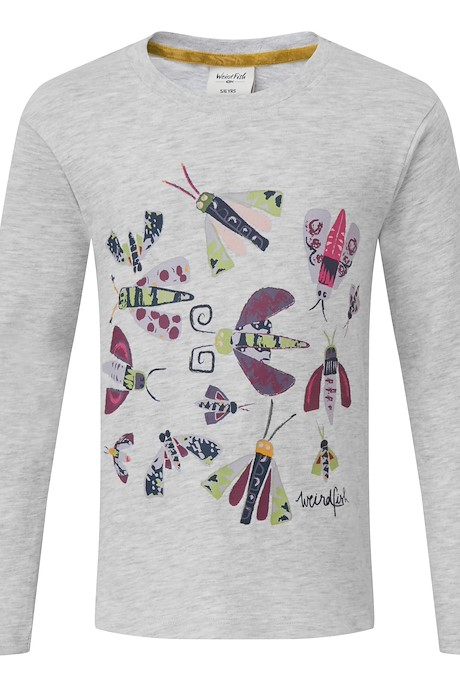 Bugsy Long Sleeved Graphic T-Shirt Grey Marl
