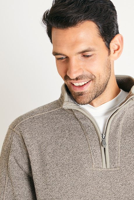Stowe 1/4 Zip Soft Knit Fleece  Taupe Grey