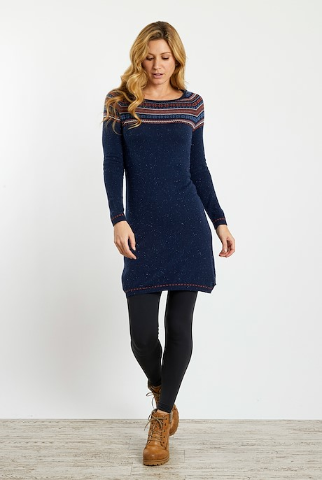 Sebah Fair Isle Knitted Dress Dark Navy