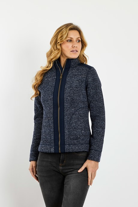 Bunty Full Zip Bonded Honeycomb Soft Knit  Dark Navy