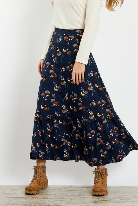 Coco Brushed Twill Printed Maxi Skirt Dark Navy