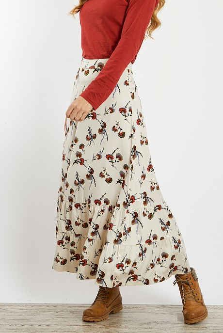 Coco Brushed Twill Printed Maxi Skirt Chalk