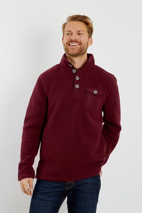 Byron Button Neck Fleece Sweatshirt Pinot Wine