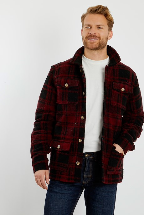 Drury Check Flannel Quilted Shacket Pinot Wine