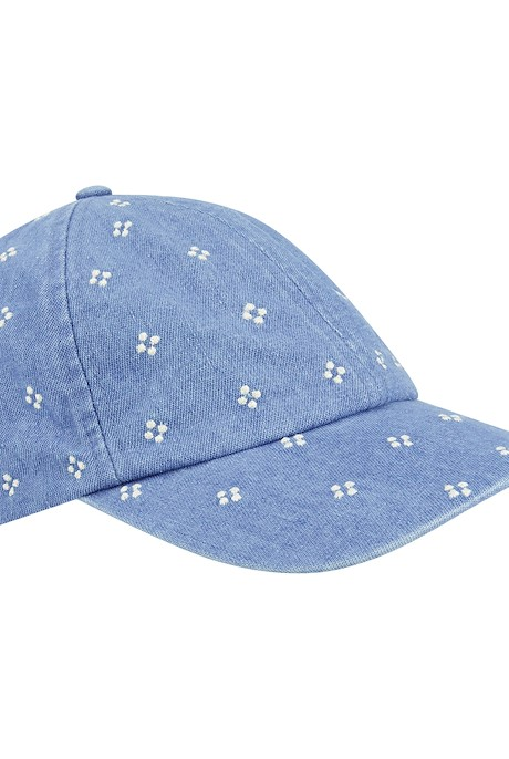 Rina Embroidered Denim Cap Light Denim