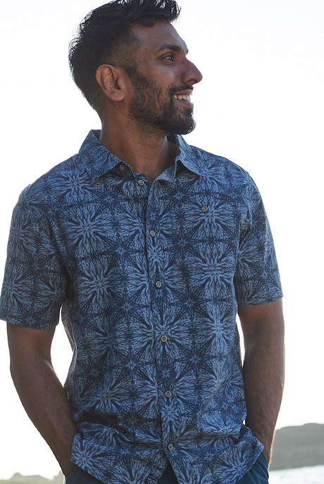 Dawlish Short Sleeve Printed Shirt Indigo