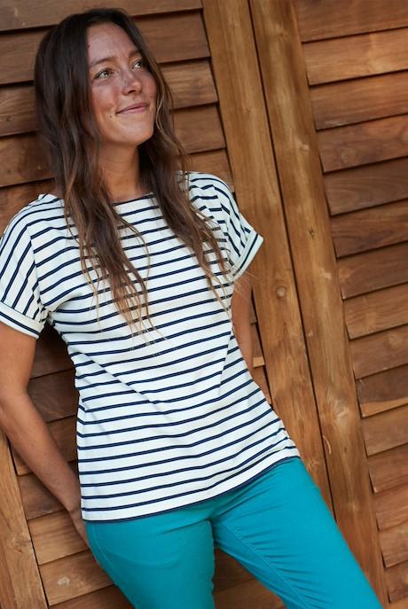 Esha Striped Jersey T-Shirt Light Cream