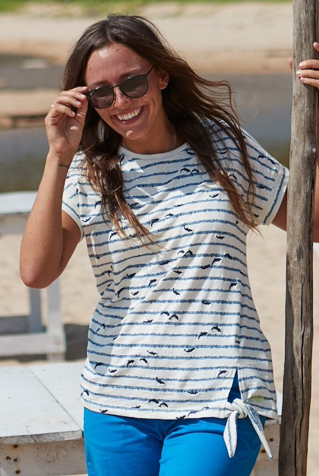 Molly Embroidered Striped T-Shirt Light Cream