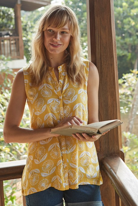 Piper Sleeveless Floral Print Shirt Sunshine Yellow