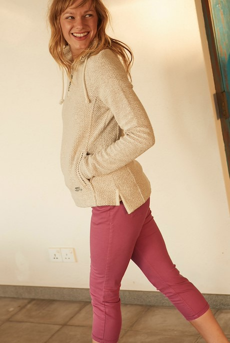 Samri Cotton Twill Cropped Trousers Magenta