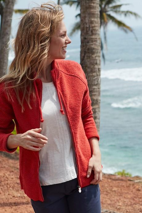 Holly Full Zip Classic Macaroni Sweatshirt Radical Red