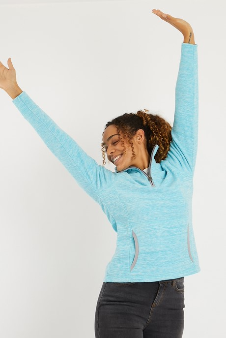 Nancy 1/4 Zip Melange Fleece Sweatshirt Cyan