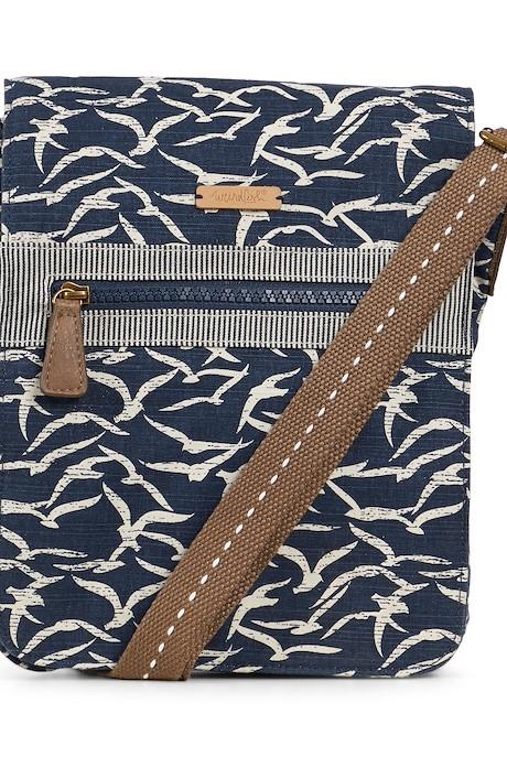 Hallie Patterned Cross Body Bag Dark Navy