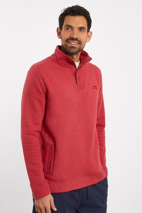 Folk Button Neck Sweatshirt Chilli Pepper