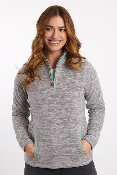 Nancy 1/4 Zip Melange Fleece Sweatshirt Ash Grey