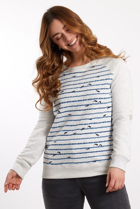 Shelley Striped Crew Neck Sweatshirt Chalk