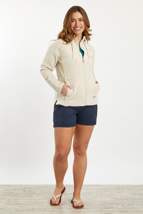Holly Full Zip Classic Macaroni Sweatshirt Ecru