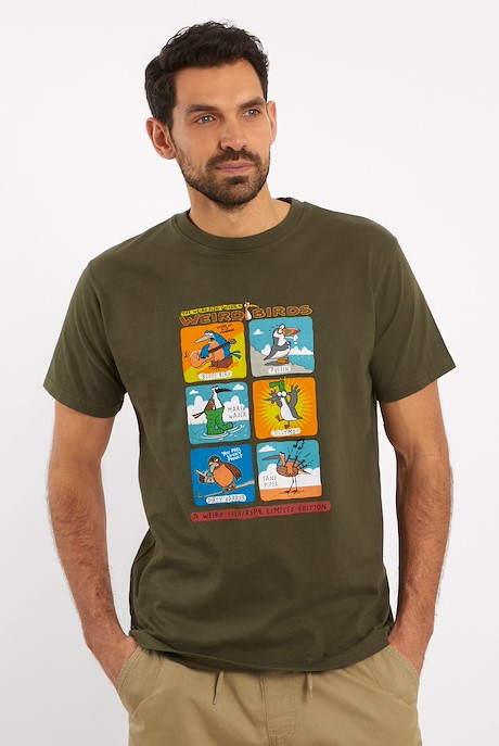 Weird Birds Artist T-Shirt Dark Olive