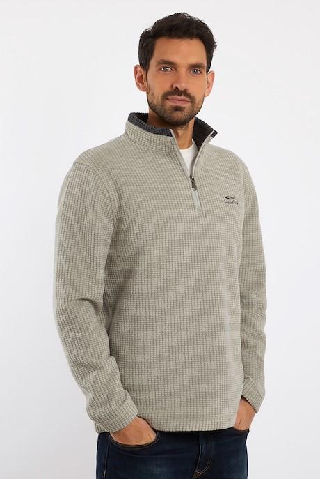 Newark 1/4 Zip Grid Fleece Sweatshirt Safari