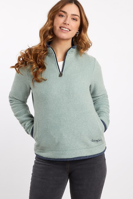 Beyonce Grid Fleece Sweatshirt Silver Sage
