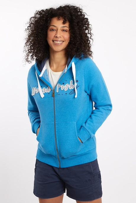 Corinne Branded Zip Through Hoodie Blue Wash