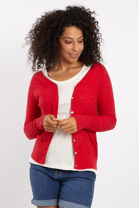 Curran Plain Cotton Cardigan Radical Red