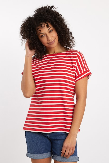Esha Striped Jersey T-Shirt Radical Red