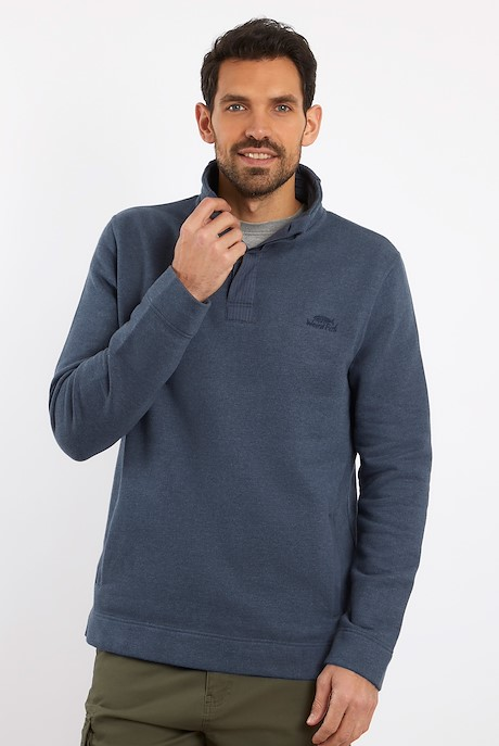 Folk Button Neck Sweatshirt Navy