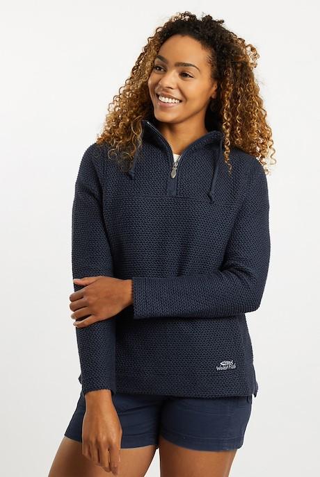 Portia 1/4 Zip Classic Macaroni Sweatshirt Navy
