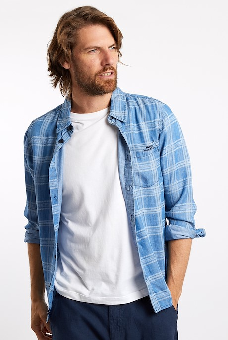 Denny Checked Tencel Shirt Light Denim