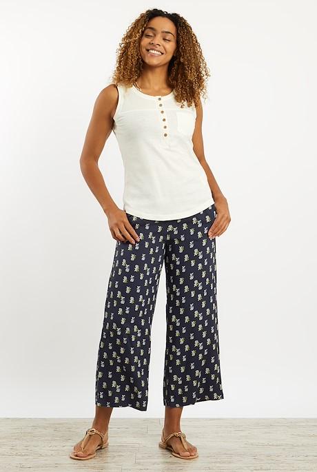 Tresco Printed Cropped Trouser Navy