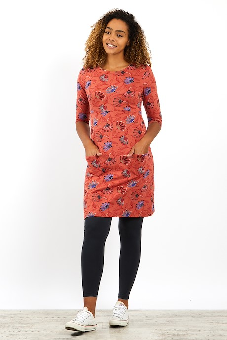 Starshine Printed Jersey Dress Burnt Orange