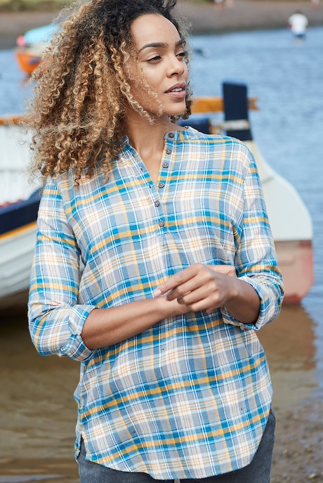 Valerie Brushed Check Shirt Frost Grey