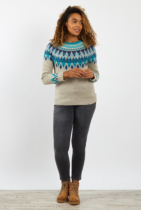 Liza Fair Isle Knit Jumper Chalk
