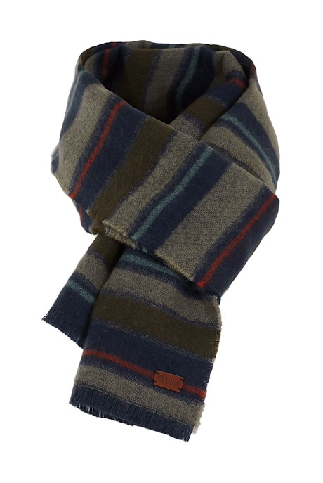 Arviat Brushed Striped Scarf Dark Olive
