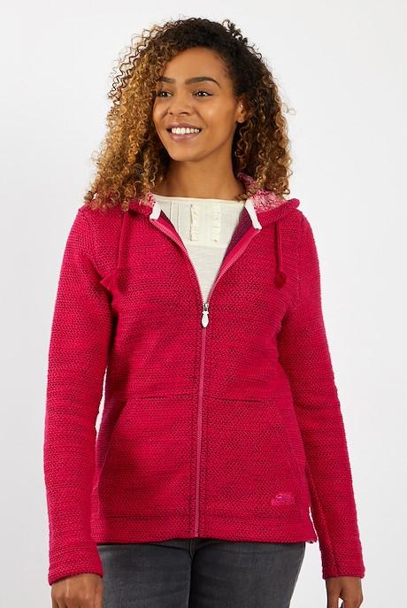 Weylin Full Zip Eco Macaroni Hoodie Dark Pink